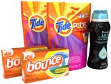 Tide Pods, Downy UNstopables, Fresh, In Wash Scent Booster, & Bounce Sheets Laundry Care Bundle Pack; Up to 68 Loads of Laundry