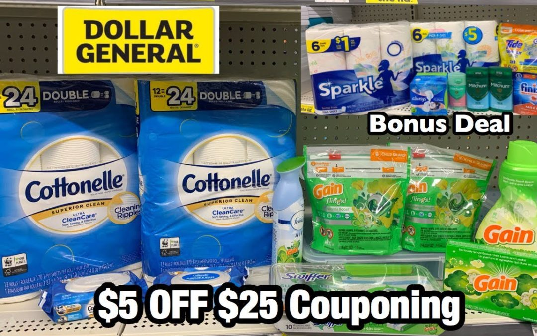 Dollar General | $5 Off $25 Couponing | Amazing Gain & Cottonelle Deal – Paid $8!