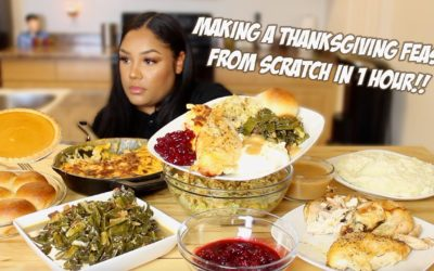 MAKING A THANKSGIVING FEAST IN 1 HOUR ** FULL RECIPE + MUKBANG