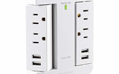 CyberPower P4WSU Professional Surge Protector, 900J/125V, 4 Swivel Outlets, 4 USB-A Charge Ports, White Wall Tap