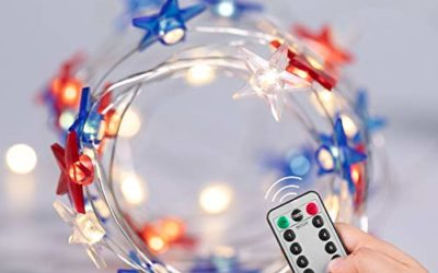July 4th Independence Day LED String Lights, 16FT 50LEDs USA American Stars Flag Lights, USB and Battery Operated String Lights with Remote & Timer, for Bedroom Patriotic Decoration Memorial Day