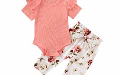 Newborn Baby Girl Clothes Long Sleeve Bodysuits Romper Floral Halen Pants Outfit Set (A-Pink Floral Sets, 0-3 Months)
