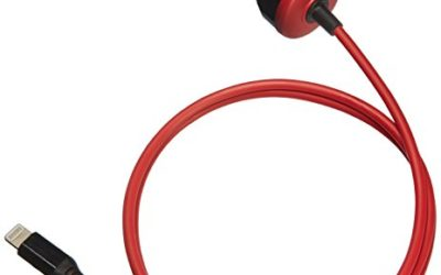 AmazonBasics Straight Cable Lightning Car Charger, 5V 12W, 3 Foot, Black and Red
