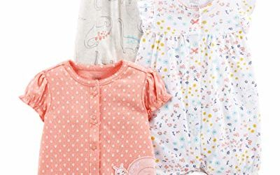 Simple Joys by Carter's Girls' 3-Pack Snap-up Rompers, dino/floral/Snail, 24 Months