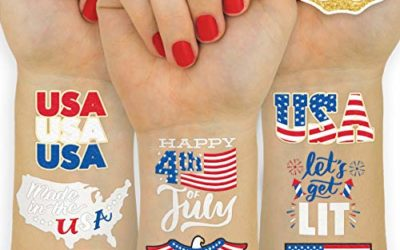 xo, Fetti Fourth of July Decorations Temporary Tattoos – 30 styles | Labor Day, America, Memorial Day, Independence Day, Red White and Blue Party Supplies, 4th of July, USA