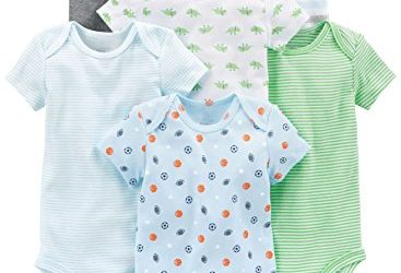 Simple Joys by Carter's Baby Boys 6-Pack Short-Sleeve Bodysuit, Blue/Grey, 24 Months