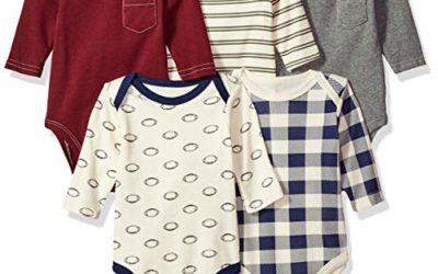 Hudson Baby Unisex Baby Cotton Long-Sleeve Bodysuits, Burgundy Football, 0-3 Months