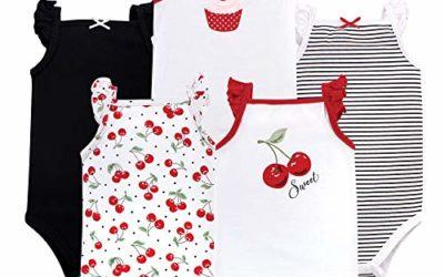 Hudson Baby Unisex Baby Cotton Sleeveless Bodysuits, Cherries, 9-12 Months