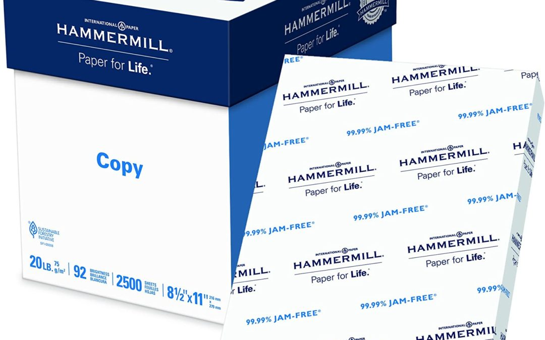 Hammermill 20lb Copy Paper, 8.5 x 11, 5 Ream Case,