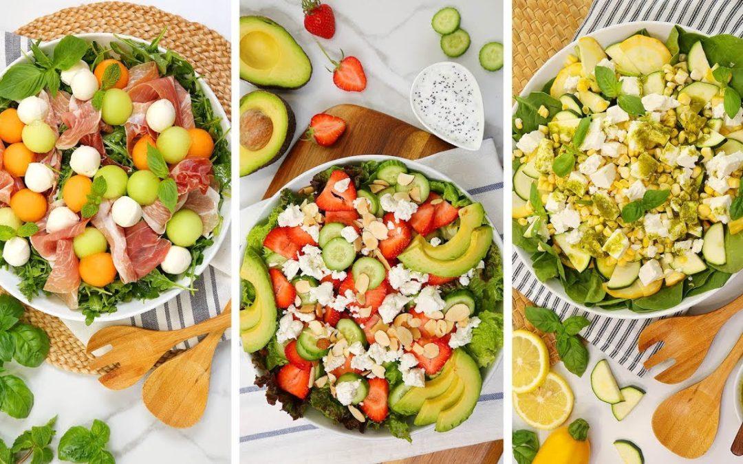3 Fresh Summer Salads | No Cook Recipes + Healthy + Easy