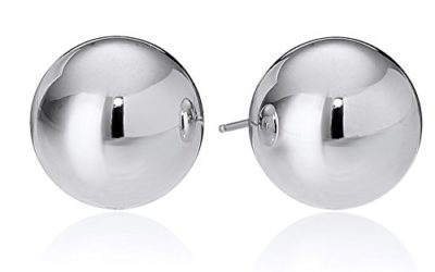 Amazon Essentials Sterling Silver Polished Ball Stud Earrings (10mm)