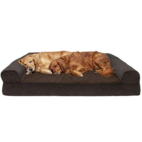 Furhaven Pet Dog Bed – Orthopedic Faux Fleece & Chenille Soft Woven Traditional Sofa-Style Living Room Couch Pet Bed w/ Removable Cover for Dogs & Cats, Coffee, Jumbo Plus