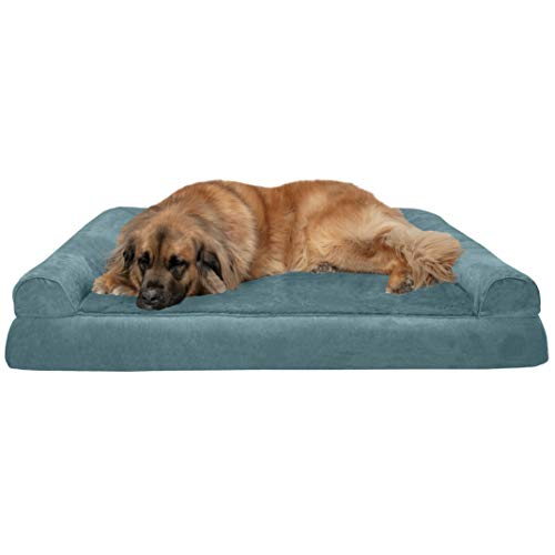 Furhaven Pet Dog Bed – Orthopedic Ultra Plush Faux Fur & Suede Traditional Sofa-Style Living Room Couch Pet Bed w/ Removable Cover for Dogs & Cats, Deep Pool, Jumbo Plus