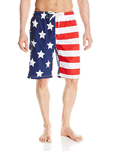 Kanu Surf Men's Barracuda Swim Trunks (Regular & Extended Sizes), USA American Flag, 2X