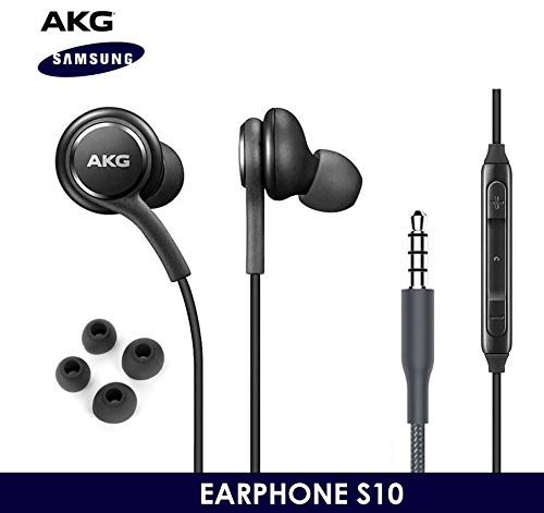 OEM ElloGear Earbuds Stereo Headphones for Samsung Galaxy S10 S10e Plus Cable – Designed by AKG – with Microphone and Volume Buttons (Black)