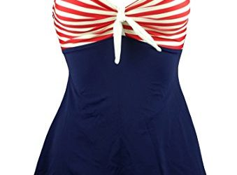 COCOSHIP Navy Blue & Red White Striped Vintage Sailor Pin Up Swimsuit One Piece Skirtini Cover Up Swimdress XL(FBA)