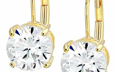 Amazon Essentials Yellow Gold Plated Sterling Silver Round Cut Cubic Zirconia Leverback Earrings (5mm)