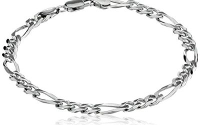 """Men's Sterling Silver Italian 5.5mm Solid Figaro Chain Link Bracelet, 9"""""""