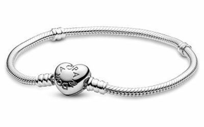 """PANDORA Jewelry Moments Heart Clasp Snake Chain Charm Sterling Silver Bracelet, 7.5"""""""