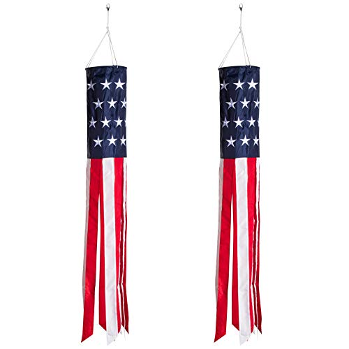 Homarden 40 Inch American Flag Windsock (Set of 2) – Outdoor Hanging 4th of July Decor – Premium Materials with Embroidered Stars – Fade Resistant Patriotic Wind Socks Decorations