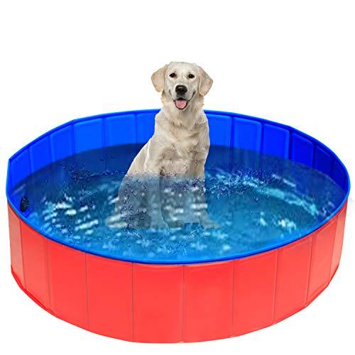 UMARDOO Fold Dog Pool – Pet Bath Pool, Swimming Pool Portable PVC Pet Paddling Bath Tub for Cats (X-Large-63'' X 12'')