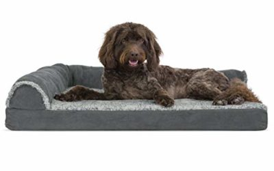 Furhaven Pet Dog Bed – Deluxe Cooling Gel Memory Foam Two-Tone Plush Faux Fur & Suede L Shaped Chaise Lounge Living Room Corner Couch Pet Bed w/ Removable Cover for Dogs & Cats, Stone Gray, Large