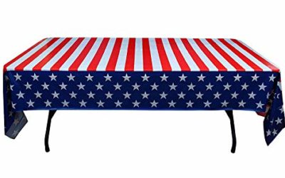 Exquisite 6-Pack Premium Rectangle American Flag Design Plastic Tablecloth – USA Stars and Stripes Tablecloth Disposable Plastic Table Cover for July 4th – 54 inch. x 108 inch.