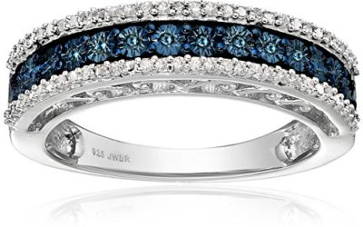 Jewelili Sterling Silver Blue and White Diamond Anniversary Ring (1/10 cttw,), Size 7