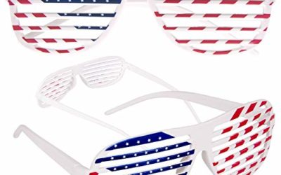 American Flag USA Patriotic Shutter Shades Sunglasses – 12 Pairs Fourth of July Party Favors Patriotic Decorations Red White and Blue Glasses 12 Pack