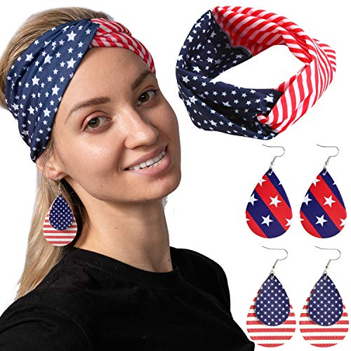 JOYIN 5 Pcs Patriotic Accessories of a US American Flag Headband, 4 Leather Earrings for 4th July Celebration, Independence Day, Memorial Day, Veterans Day, Patriotic Themed Party Dress-up