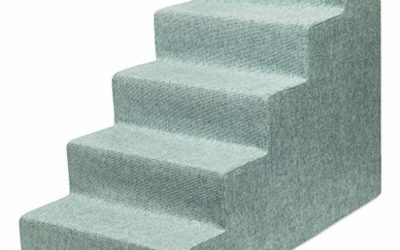 """USA Made Pet Steps/Stairs with CertiPUR-US Certified Foam for Dogs & Cats by Best Pet Supplies – Pale Teal, 5-Step (H: 22.5"""")"""