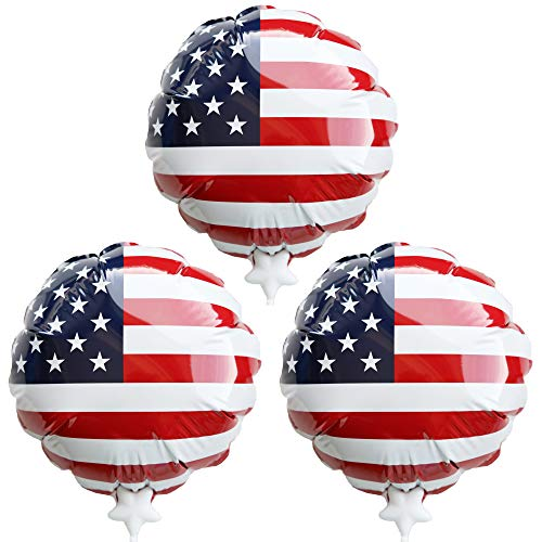 """Self-Inflating U.S. Flag Balloons. Simply Press to Inflate. Perfect for July 4th, Patriotic Decorations, Independence Day, Patriotism Decor, Gifts for Everyone, 3-Pack 7.5"""""""