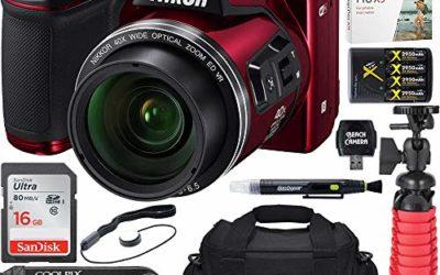 (Renewed) Nikon COOLPIX B500 16MP 40x Optical Zoom Digital Camera w/ WiFi – Red  + 16GB SDHC Accessory Bundle