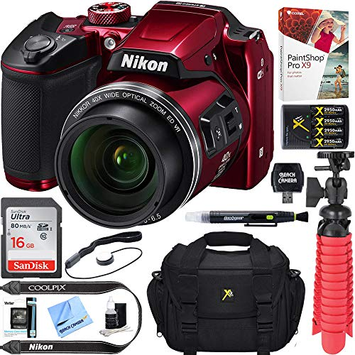 (Renewed) Nikon COOLPIX B500 16MP 40x Optical Zoom Digital Camera w/ WiFi – Red  + 16GB SDHC Accessory Bundle