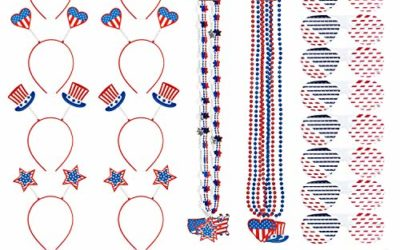 JOYIN 56 Pcs Patriotic Party Favor of 8 Glasses, 8 Headbands, 8 Necklaces, and 32 Tattoo Stickers for 4th of July Celebration, Independence Day Gathering, Memorial Day Commemoration, Veterans Day Honoring, Patriotic Party Favors and Themed Party