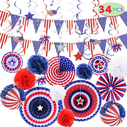 JOYIN 34 Pcs Patriotic Party Supplies 6 Paper Fan, 6 Flower Ball, 2 Flag Ball, 18 Swirl Streamer, 2 Triangle Garland for 4th of July, Independence Day, Memorial Day, Veterans Day Patriotic Party Decor