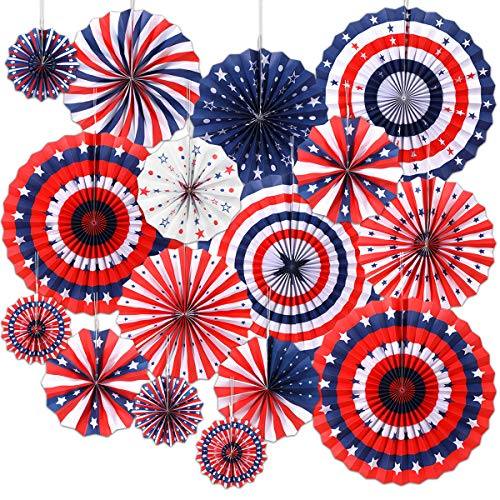 4th of July Decorations 16PCS Paper Fan for USA Patriotic Decorations Memorial Day Decorations Independence Day Veterans Birthday Party Supplies