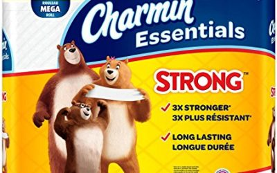 Charmin Essentials Strong Toilet Paper, Bath Tissue, Mega Roll, 12 Count