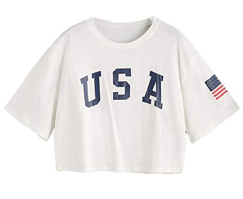 SweatyRocks Women's Letter Print Crop Tops Summer Short Sleeve T-shirt (Large, White)