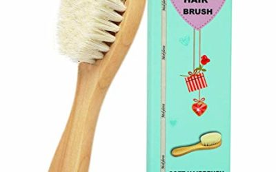 Molylove Baby Hair Brush with Wooden Handle and Super Soft Goat Bristles for Newborns & Toddlers