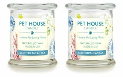 One Fur All 100% Natural Soy Wax Candle, 20 Fragrances – Pet Odor Eliminator, Up to 60 Hours Burn Time, Non-Toxic, Reusable Glass Jar Scented Candles – Pet House Candle, Mediterranean Sea – Pack of 2