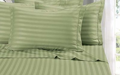 Elegant Comfort Best, Softest, Coziest 6-Piece Sheet Sets! – 1500 Thread Count Egyptian Quality Luxurious Wrinkle Resistant 6-Piece Damask Stripe Bed Sheet Set, King Sage/Green