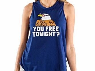 Tipsy Elves Patriotic Women's Tank Top You 'Free' Tonight? Size M Navy Blue
