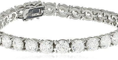 "Platinum Plated Sterling Silver Tennis Bracelet set with Round Cut Swarovski Zirconia, 7.25"""