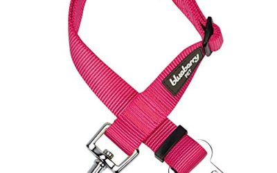 Blueberry Pet Essentials 19 Colors Classic Dog Seat Belt Tether for Dogs Cats, French Pink, Durable Safety Car Vehicle Seatbelts Leads Use with Harness