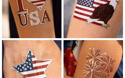 John & Judy 24 Patriotic Temporary Tattoos | 4th of July Party Supplies | USA Party Favors and Fourth of July Party Decorations | Metallic American Flag Red White and Blue Fake Tattoos