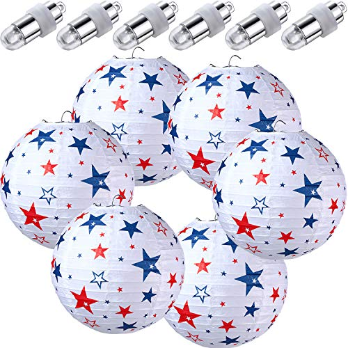 6 Pieces 4th of July Patriotic Day Party Paper Lanterns with 6 LED Paper Lantern Light, Red White Blue Stars Round Hanging Party Lantern for Independence Day, Military Graduation Decoration Favor