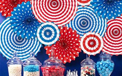 Moon Boat Fourth of July Patriotic Decorations – Red White Blue Hanging Paper Fans – 4th of July Party Favors