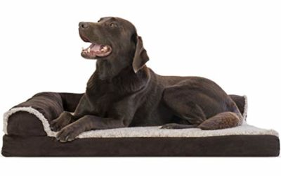 Furhaven Pet Dog Bed – Deluxe Orthopedic Two-Tone Plush and Suede L Shaped Chaise Lounge Living Room Corner Couch Pet Bed with Removable Cover for Dogs and Cats, Espresso, Large