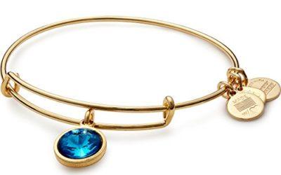 "Alex and Ani ""Bangle Bar"" December Imitation Birthstone Gold-Tone Expandable Bracelet"
